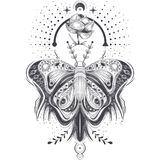Illustration of a sketch, tattoo art butterfly in abstract style, mystical, astrological symbol. Stock Photos