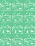 Illustration. Sketch. Turquoise background with music cassettes. Stock Photos