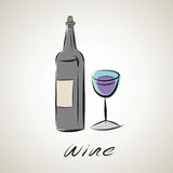 Illustration sketch of wine Royalty Free Stock Photos