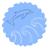 Illustration of a sketched jumping dolphin Royalty Free Stock Photography