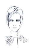 Illustration sketching face of a girl with short hair. On a white background stock illustration
