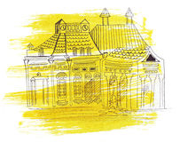 Illustration sketching landmark building road train station. On the way of passenger trains in Russia stock illustration