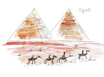 Illustration sketching sights of Egypt Giza Pyramids and camel caravan in front. Of them stock illustration