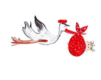 Illustration sketching stork carrying a female child. In a red scarf Royalty Free Stock Image