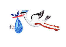 Illustration sketching stork carrying a male child. In a blue scarf Royalty Free Stock Photo