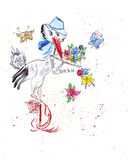 Illustration sketching stork mailman holding a letter with the news about the baby. In the flowers and flying butterflies stock illustration