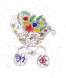 Illustration sketching stroller to transport infants decorated with flowers Royalty Free Stock Images