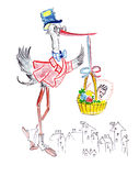 Illustration sketching stylishly dressed stork holding a baby in a basket on the background. Of the city vector illustration