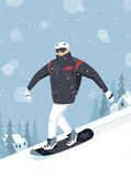 Illustration of a skier in winter C Royalty Free Stock Photos