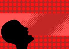 Illustration of skinhead. Abstract illustration of skinhead, red background royalty free illustration