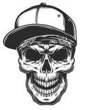Illustration of skull in bandana and baseball cap. Monochrome line work. Isolated on white background stock illustration