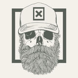 Illustration of skull with a beard wearing a cap Stock Images