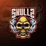 Skull devil mascot logo design royalty free illustration