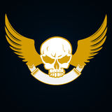 Illustration of a skull with emblem and wings - decorative element Royalty Free Stock Image