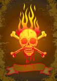 Illustration of the skull in flames Royalty Free Stock Images