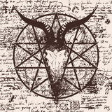 Illustration with skull of goat and pentagram Royalty Free Stock Photography