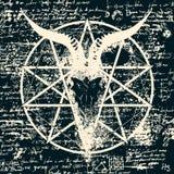 Illustration with skull of goat and pentagram Stock Photo