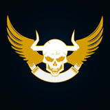 Illustration of a skull with horns, wings and emblem template Royalty Free Stock Photos
