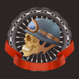 Illustration of skull motorcyclists with helmet Stock Images