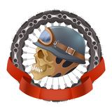 Illustration of skull motorcyclists with helmet Royalty Free Stock Images
