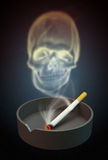 Illustration of skull shaped smoke comes out from cigarette Royalty Free Stock Image