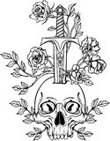 Illustration with skull stabbed by sword Royalty Free Stock Image