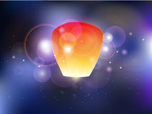 Illustration of sky lanterns and sparkles Royalty Free Stock Images