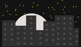Skyline by night. Illustration of a skyline by night with a moon and stars Royalty Free Illustration