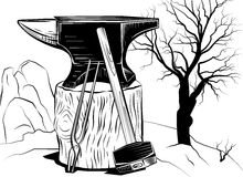 Illustration with a sledge hammer and an anvil on. Vector illustration with a sledge hammer and an anvil on a tree stump on a background of dead tree Stock Image