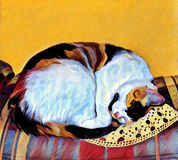Illustration of a Sleeping Calico Cat. On a plaid couch and crochet handkerchief. The image has been processed to appear to be painted on canvas Royalty Free Stock Images