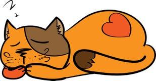Illustration of sleeping cute kitten Royalty Free Stock Photo