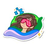 Cartoon happy woman. Illustration of a sleeping girl in a mask. Cartoon happy woman. Cartoon character girl on pillow in bed Stock Photos