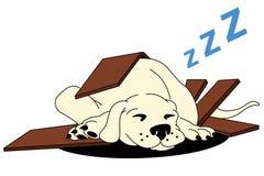 Illustration of a sleeping puppy vector illustration
