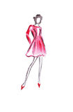Illustration slim high female in a red short dress Royalty Free Stock Images