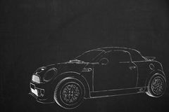 Illustration from a small car drawed with white chalk on a dark Stock Images