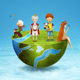 Illustration of  small children on half of the globe Royalty Free Stock Images