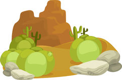 Illustration small desert stone plant Royalty Free Stock Images