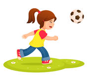 Illustration of a small girl playing football Royalty Free Stock Photos