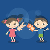 Illustration small kids with hand puppet toy Stock Photography