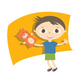 Illustration small kids with hand puppet toy Stock Images
