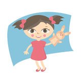 Illustration small kids with hand puppet toy Royalty Free Stock Photo