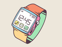Illustration of smart watch with button on light backgrou Stock Photos