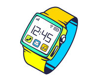 Illustration of smart watch with button on white backgrou Stock Photos