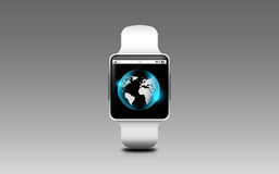 Illustration of smart watch with earth globe on screen Stock Image