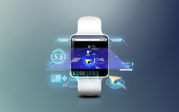 Illustration of smart watch with gps navigator map Stock Photos
