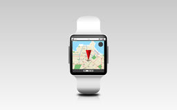 Illustration of smart watch with gps navigator map Royalty Free Stock Images