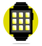 Illustration of smartwatch with circle background Royalty Free Stock Photography