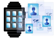 Illustration of smartwatch with persons. Illustration of smartwatch with social media persons Royalty Free Stock Photos