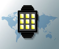 Illustration of smartwatch with world map background Stock Photography