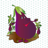 Illustration of a smile, cartoon characters eggplant.  Stock Image